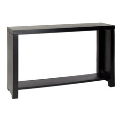 Open Spaces Console in Black - Furniture constructed from wood instantly adds a natural touch to any space. Made from pine, each console is individual to its particular piece of wood. Its simple form and black-paint finish make it a versatile fit for the living room or bedroom. The bottom shelf creates a simple and open space for storing and displaying books, decorative accents, and other treasured collectibles.