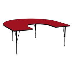 "Flash Furniture - 60""W x 66""L Horseshoe Activity Table with Adjustable Pre-School Legs - Red - Flash Furniture's Pre-School XU-A6066-HRSE-RED-T-P-GG warp resistant thermal fused laminate horseshoe activity table features a 1.125 in.  top and a thermal fused laminate work surface. This Horseshoe Shaped Laminate activity table provides a durable work surface that is versatile enough for everything from computers to projects or group lessons. Sturdy steel legs adjust from 16.125 in.  - 25.125 in.  high and have a brilliant chrome finish. The 1.125 in.  thick particle board top also incorporates a protective underside backing sheet to prevent moisture absorption and warping. T-mold edge banding provides a durable and attractive edging enhancement that is certain to withstand the rigors of any classroom environment. Glides prevent wobbling and will keep your work surface level. This model is featured in a beautiful Red finish that will enhance the beauty of any school setting."