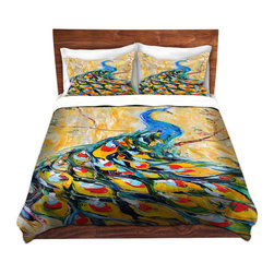 DiaNoche Designs - Duvet Cover Twill - Luminous Peacock I - Lightweight and super soft brushed twill Duvet Cover sizes Twin, Queen, King.  This duvet is designed to wash upon arrival for maximum softness.   Each duvet starts by looming the fabric and cutting to the size ordered.  The Image is printed and your Duvet Cover is meticulously sewn together with ties in each corner and a concealed zip closure.  All in the USA!!  Poly top with a Cotton Poly underside.  Dye Sublimation printing permanently adheres the ink to the material for long life and durability. Printed top, cream colored bottom, Machine Washable, Product may vary slightly from image.