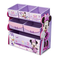 Adarn Inc - Stylish Design Purple Multi Bins Boxes Minnie Mouse Girls Toy Organizer Chest - This stylishly designed Minnie Mouse Multi-Bin Organizer is the perfect storage item to keep your daughter's toys in order. Featuring all of her favorite Minnie Mouse characters like Minnie and Daisy Duck, an elegant color pattern, and six uniquely sized storage boxes, this organizer makes cleaning up easy and exciting. Meets all JPMA safety standards. Some assembly required. Compliments other Minnie Mouse item sold separately.