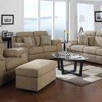 None - Emerald Horizon Beige 4-piece Livingroom Set - Soft chenille,100-percent polyester,beige,easy to clean,fabric cover. Fixed seat and back cushions,pocketed coils in seat cushions over durable 8-way hand tied spring support.