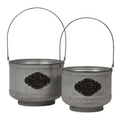 "IMAX CORPORATION - Peterson Galvanized Planters - Set of 2 - This set of two charming planters, made of galvanized metal with handles, is perfect for holding a kitchen herb garden, fruits, natural fillers or, of course, your favorite plants!.  Set of 2 planters measuring 18.5""H x 9.75""W x 12.25""L and 26""H x 13""W x 15.5""L each. Find home furnishings, decor, and accessories from Posh Urban Furnishings. Beautiful, stylish furniture and decor that will brighten your home instantly. Shop modern, traditional, vintage, and world designs."