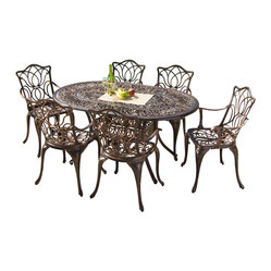 Great Deal Furniture - Gardena Outdoor Cast Aluminum Dining Set - With the Gardena Outdoor Cast Aluminum Dining Set you can comfortably seat up to six guests in the warmth of your backyard or deck. Its sturdy build and intricate design will offer years of sheer pleasure.