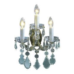 """Inviting Home - Maria Theresa Crystal Sconce (Premium Crystal) - Maria Theresa style crystal sconce with cut crystal trimmings; 12""""W x 9""""D x 12""""H; assembly required; 3 light premium Maria Theresa style crystal sconce with hand-molded arms and cut crystal trimmings; all metal parts have gold finish; genuine Czech crystal; ready to ship in 2 to 3 weeks; This wall sconce is a part of Maria Theresa Collection. At their start the chandeliers bearing the name of Maria Theresa were made on the occasion of the Empress's coronation as queen of Bohemia in 1743. This fact is hidden in the shape of these lighting fixtures reminiscent of the royal crown. Their characteristic feature is the arms' typical flat surface clad with glass bars. The bars are fixed to the arms by glass rosettes and beads with dangling cut crystal chandelier trimmings. These ravishing fixtures were inspired by a chandelier made for Maria Theresa in Bohemia in the mid 18th century. However not only the empress became fond of it; so did many others who fancied the style and the majestic manners after her. Typical elements are metal arms overlaid with glass bars and decorated with crystal rosettes. Originally the trimming was made of typical flat drops called """"pendles"""". Today trimmings of various shapes are used. Premium crystal. A sumptuous type of chandelier trimmings. Fire of the rainbow spectrum brilliance limpidity glitter and perfect scattering and dispersion of light - these are their main features resulting from precise cutting using electronically controlled machines but also from high quality crystal containing more then 30% of lead. Traditional mastery and the revealed mystery of the glass substance blend together with modern technologies and first-rate design in each of these unique pieces. Chandeliers dressed with these trimmings of exceptional beauty will lend an air of grandeur to the ambiance even of the most prestigious interiors. Every component passes thorough strict internal Quality Contr"""