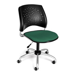 OFM - Stars Adjustable Swivel Chair w Cushion Seat (Burgundy) - Color: Burgundy. Swivel and seat height control. 16 In-stock colors. Triple Curve seat design. Replaceable stain-resistant seat cushions. Sturdy black polypropylene casters. Meets or Exceeds ANSI/BIFMA standards. Weight capacity: 250 lbs.. Pictured in Shamrock Green. Base size: 27 in.  5 Star. Seat size: 18.5 in. x 17.5 in. . Back size: 19  in. x 16 in. . Seat height: 17 in. - 21 in. . Overall: 22 in. W x 22.5 in. D x 34-37.5 in. H