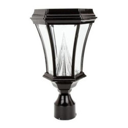 """Gama Sonic - Gama Sonic Outdoor Lighting. 15 in. Victorian Solar Lamp with 6 Solar LED Bulbs, - Shop for Lighting & Fans at The Home Depot. This Victorian style solar post lamp is crafted from durable cast aluminum. Its patented technology allows the light to shine brighter and cover a larger area then most conventional solar lights. The light will shine 8-10 hours on a full charge. It has 8 super bright white LED bulbs and beveled glass sides. Automatic dusk to dawn operation and includes bolts and anchors for column mounting. It comes complete with a mounting bracket to mount on any existing 3 in. lamp post. A great replacement for those expensive gas or electric lamp post lights. This is a perfect """"Green"""" way to illuminate your walkway or patio."""