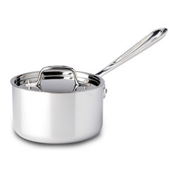 All-Clad - All-Clad Tri-Ply Stainless Steel 1-1/2 qt. Sauce Pan w/Lid (4201.5) - The classic sauce pan is a versatile essential found in a variety of sizes in every well- equipped kitchen. With high, straight sides and a smaller surface area, the sauce pan holds heat well and limits evaporation. Because of its shape, this pan is ideal for making sauces, heating liquids, cooking food in liquids and reheating. Can be used with or without the lid to control evaporation. Lifetime warranty from All-Clad with normal use and proper care. Made in the USA!