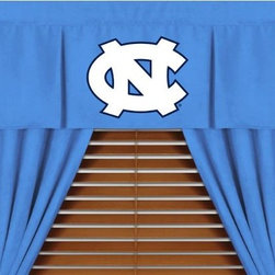 Sports Coverage - North Carolina Tarheels NCAA MVP Micro Suede Valance - Finish off the room in style with this great looking North Carolina Tarheels MVP Micro Suede Pleated Valance. A must have for any true fan. The MVP Micro Suede Collection is unique in its appeal to both young and more mature tastes. Sporting team colors with a soft leather looking stripe. The best part of this new look is its ultra soft and washable Polyester microsuede fabric which is perfect for bedding because it stays soft. Wash in cold water and tumble dry in low heat. Color fast and wrinkle-free. Has a 3 rod pocket and two even-spaced pleats.   Show your team spirit with this officially licensed 50 x 15 MVP valance. Appliqued team logo in center on official team-colored jersey, with the lance wearing the same smaller team logo as the sham, for a coordinated window play. Self lined. Drapery is sold separately.