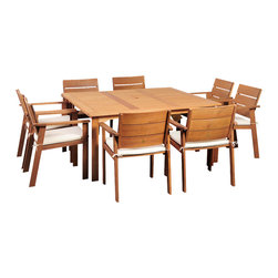 International Home Miami - Amazonia Nelson Eucalyptus 9 Piece Square Dining Set - Nelson Eucalyptus 9 Piece Square Dining Set belongs to Amazonia Collection by International Home Miami Great Quality, elegant design patio set, made of solid eucalyptus wood. FSC (Forest Stewardship Council) certified. Enjoy your patio with style with these great sets from our Amazonia outdoor collection.  Table (1), Chair (8)
