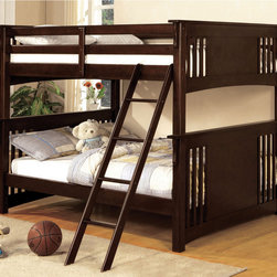 Furniture of America - Furniture of America Ashton Youth Full over Full Bunk Bed - This birch wood full over full bunk bed in dark walnut is the perfect way to save space and still keep your little ones comfortable.