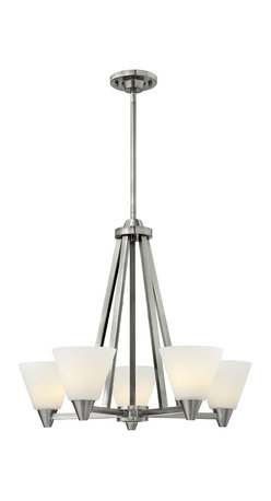 """Hinkley Lighting - 3665BN Hinkley Lighting Dillon - tched Opal Glass Shade. Durable Steel Construction. Height: 22"""". Width: 26"""". Canopy Width: 5"""". Wire Length: 120"""". Voltage: 120. UL Listed for Dry Locations. Dillons contemporary, stem hung design features a floating cast double ring intersection as the centerpiece. Hinkley is continually recommended by interior and exterior designers, and is available to you through premier lighting showrooms across the country. We pride ourselves in delivering superior customer service that is second to none. Each collection is available in a wide range of sizes and designs from elegant and traditional to sleek and contemporary. Hinkley Lighting began in 1922 as a small family lighting company and has evolved into one of the most respected lighting brands in the industry."""