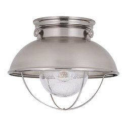 Sea Gull Lighting - Sea Gull Lighting 8869-98 Sebring Transitional Outdoor Flush Mount Ceiling Light - A modern aesthetic for out of doors in a finish that richly contrasts against natures wonderful colors.