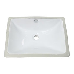 Caracalla - Rectangular Ceramic Undermount Bathroom Sink - Contemporary and stylish, this sink will ramp up your bathroom aesthetic. It's installed underneath your countertop, so the clean lines and simple design will let your vanity shine.