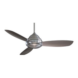 Minka Aire Fans - 52-Inch Ceiling Fan with Three Blades and Light Kit - F517-BN - Ease of installation and simple design make this Concept 1 ceiling fan a great addition to any room. The full function hand held remote control regulates speed, light level and reverses blade direction. Comes complete with 3-1/2-inch and 6-inch downrods with an integrated sloped ceiling adapter. Includes a cap for non-light use. Takes (1) 100-watt halogen T4 bulb(s). Bulb(s) sold separately. Dry location rated.