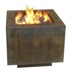 Home Infatuation - Square Fire Pit for Lava Roc or Glass - Who knew rust could look so stylish? And did you know that leaving things out in the elements was a good thing? Add this 30-inch, square fire pit to your outside area and weather won't keep you inside anymore.