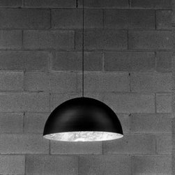 "Catellani & Smith - Catellani & Smith Stchu Moon 02 pendant light - Product description: The Stchu Moon 02 pendant light by Catellani & Smith features a irregular surface lined with silver or gold coloured leaf, matt black exterior. Steel bulb screen.  Details:                         Manufacturer:             Catellani Smith                            Design:                         Catellani                                         Made in:            Italy                            Dimensions:                         small: diameter: 16"" (40cm) width: 8"" (20cm)              large: diameter: 2 ft (60cm) width: 1ft (30cm)                                         Light bulb:             1 x 75W 12V low voltage Halogen spot -  Transformer included                            Material             metal,gold"