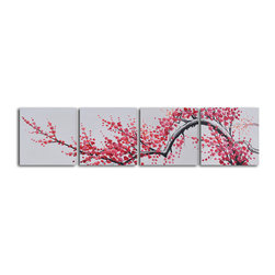 Extension of Asian branch Hand Painted 4 piece canvas set - The natural simplicity of Japanese prints comes to life with a modern twist in this group of paintings. A single lovely cherry blossom branch stretches out across four canvases. Hanging above your headboard, the serenity of nature delicately captured in these paintings will be sure to rock you to sleep.