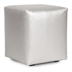 Howard Elliott - Shimmer Universal Cube Cover - Shimmer Cubes do just that. This shimmering faux leather fabric will entice your fashion senses while adding a futuristic flair to your decor. The simple design of the Shimmer Cubes makes them great to use as side tables, ottomans, alternate seating and more.