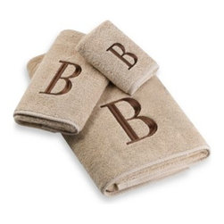 Avanti - Avanti Premier Brown Block Monogram Hand Towels in Linen - Classic and sophisticated, these monogrammed towels will add that subtle personal touch to your bathroom decor. Block letter is embroidered with great detail over an incredibly soft towel.