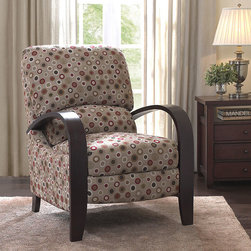 None - Riverside Vegas Recliner - Add flair and personality to your home with this decorative wood recliner. This recliner features bentwood arms and legs with 100-percent polyester upholstery. Its colorful design and two-position push-back mechanism make this recliner truly unique.