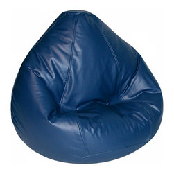 Elite Products - Lifestyle Bean Bag in Navy - Vinyl is a fun and durable choice for bean bag chairs, especially in a kid's room. Childproof zippers keep the insides safely contained and seams are double stitched to protect from everyday wear. Teardrop shape and great colors combine for comfy and stylish seating. Long lasting and durable. Double stitched with double overlap folded seam. Double zippered bottom for added security. Childproof safety lock zippers (pulls have been removed). Can easily be refilled by an Adult. Light, convenient to move and store. Easy to Clean. Recommended seating age: 4 to 10 years. Warranty: One year limited. Made from PVC vinyl and polystyrene bead. Made in USA. No assembly required. 32 in. L x 27.5 in. W x 21 in. H (6 lbs.)Fit for comfort. Fit for style. Fit for you throughout all stages in life. Design creatively while relaxing comfortably in a new Lifestyle bean bag! Ideal for the small living spaces and dorm rooms, our Lifestyle bean bags are the perfect way to furnish your place without filling your rooms with lots of space-consuming furniture.