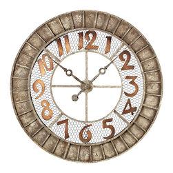 Round Distressed Metal Outdoor Wall Clock - *Dimensions: 2L x 36W x 36H
