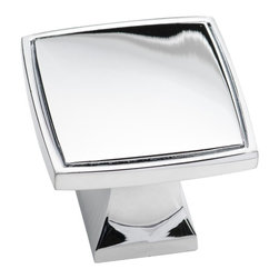 Southern Hills - Southern Hills Polished Chrome Square Knobs - Pack of 25 - Are you thinking your bathroom or kitchen update story needs a complete overhaul for a happy ending? Think David and Goliath. As the story goes, with a small sling and a few smooth little pebbles, David defeated Goliath. Now, grab your pack of Southern Hills square cabinet knobs and face your giant! Not only will these smooth polished chrome cabinet knobs have a big impact, your kitchen or bath story will have a happy ending, too.