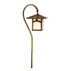 Meyda Lighting - Meyda Lighting Seneca Hill Top Shepherd's Hook Landscape Fixture - An Antique Finished Shepherd Hook Landscape Fixture Holds A Handsome American Craftsman Lantern Accented With A Mission Hill Top Pattern. This Fixture Has White Glass And Is Handcrafted In The USA By Meyda Craftsman.