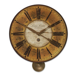 Old World Paris Gallery Gold Wall Clock - *Weathered, laminated clock face with brass accents and pendulum.