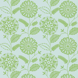 Kenneth James - Resort Green Modern Floral Wallpaper - Make a scene in blue and green. Highlight one wall or cover them all in this lime green and light blue floral wallpaper. Plant this contemporary garden in the bath, home office or any space that could use a lush lift.