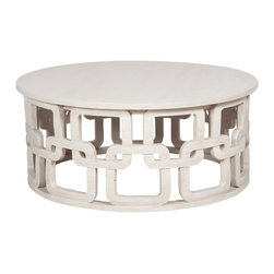 "Guildmaster - Newport Cocktail Table (White Wash) by Guildmaster - The generously sized round cocktail table offers plenty of room for display, serving or both. Carved wood has a soft white washed finish, maintaining an airy influence. The Newport Cocktail Table's versatility can enhance from contemporary to traditional decor with ease. (GM) 42"" diameter x 18"" high"