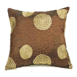 "Canaan - Chrysanthemum Embroidery Chocolate Pattern Print 20"" x 20"" Throw Pillow - Chrysanthemum embroidery chocolate pattern print 20"" x 20"" throw pillow. Measures 20"" x 20"" made with a blown in foam. These are custom made in the U.S.A and take 4-6 weeks lead time for production."