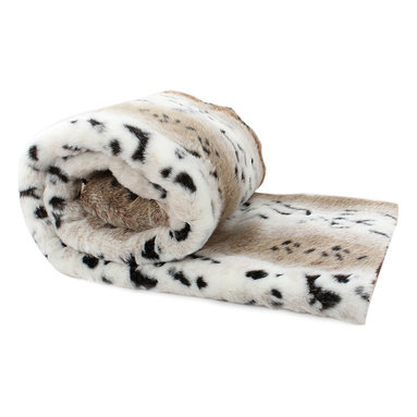 Love Thy Prey Faux-Fur Throw, Snow Leopard - Carmel, pale cream and onyx spotting is a faraway trophy with a studied smoothness and an innate grandeur, the Snow Leopard throw from the Love Thy Prey collection has instant status and stately beauty that can be yours when you add the exquisite faux fur to your decor. Consider it as an unmistakable and distinctive fur coverlet for a bed or as a sleek accent to a traditional living room; in either place, the faux fur throw is sure to impress.