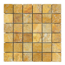 STONE TILE US - Stonetileus 10 pieces (10 Sq.ft) of Mosaic Gold 2x2 Tumbled - STONE TILE US - Mosaic Tile - Gold 2x2 Tumbled Specifications: Coverage: 1 Sq.ft size: 2x2 - 1 Sq.ft/Sheet Piece per Sheet : 36 pc(s) Tile size: 2x2 Sheet mount:Meshed back Stone tiles have natural variations therefore color may vary between tiles. This tile contains mixture of gold - yellow - copper - red - and color movement expectation of low variation, The beauty of this natural stone Mosaic comes with the convenience of high quality and easy installation advantage. This tile has Tumbled surface, and this makes them ideal for floor, walls, kitchen, bathroom, outdoor, Sheets are curved on all four sides, allowing them to fit together to produce a seamless surface area. Recommended use: Indoor - Outdoor - High traffic - Low traffic - Recommended areas: Gold 2x2 Tumbled tile ideal for floor, walls, kitchen, bathroom, Free shipping.. Set of 10 pieces, Covers 10 sq.ft.