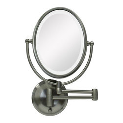 "Zadro - Oval Wall Mounted Mirror with LED Surround Light in Satin Nickel - The LED Lighted Oval Wall Mirror features a dual-sided, premium quality mirror with two magnifications. On one side, a 10x magnification mirror allows you to see up-close and in detail, allowing for easy make-up application. The other side features a normal, 1x magnification mirror that is great for checking hair and make-up. The wall mirror lights up with energy-saving LED bulbs that illuminate your entire face, allowing you to see the finest details in even the dimmest lighting, and its cordless design allows you to mount it anywhere! The LED Lighted Oval Wall Mirror is available in an elegant Satin Nickel finish. Features: -Wall mount mirror. -Satin nickel finish. -Dual sided LED lighted mirror. -10x - 1x Magnification. -Energy saving LED lighting consumes up to 70% less electricity than regular bulbs. -Dual-jointed wall mount with extendable arm. -360 Degree Swivel Mirror. -Lifetime Eco-Friendly LED Bulbs Never Need Replacing. -Oval shape. -Operates on 4 ""C"" batteries or AC adapter (included). -Manufacturer provides 90 days warranty. Specifications: -Arm extends 12"". -Mirror surface dimensions: 8"" Height x 5.75"" Width. -Overall Dimensions: 14.75"" Height x 9.75"" Width x 2.5"" Depth."