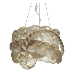 "ecofirstart.com - ""The Bride"" Braided Paper Pendant Light - Like every bride, this pendant is beautiful, feminine and most definitely one of a kind. The shade could almost serve as an elegant vintage hat with its intricately sculpted paper braids. Light plays off beautifully between the braids and paper to give your room a delicate glow."