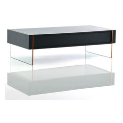 Modern Wenge Floating Coffee Table with Drawer Stone - Coffee table Stone features modern floating design. Veneered in wenge solid wood table top floats on two thick tempered glass legs. Moreover, the coffee table is equipped with the spacious drawer that will allow you to save space an keep your essentials hidden and safe.