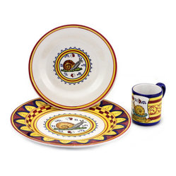 Artistica - Hand Made in Italy - PALIO DI SIENA: CHIOCCIOILA (Snail) Place setting pre-pack: Charger+Dinner+Mug - The ''Palio di Siena'' is a tournament as a replica of a medieval horse race which is ran twice year, during the summer season, in the city of Siena, located in the beautiful Tuscany region.