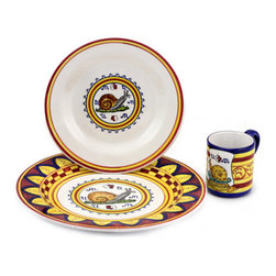 """Artistica - Hand Made in Italy - Palio Di Siena: Chioccioila (Snail) Place Setting Pre-Pack: Charger+Dinner+Mug - The """"Palio di Siena"""" is a tournament as a replica of a medieval horse race which is ran twice year, during the summer season, in the city of Siena, located in the beautiful Tuscany region."""