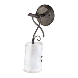 Kathy Kuo Home - Somerset Wrought Iron Organic Sculpted 1 Light Wall Bracket Sconce - Industrial and rustic elements come together in this feminine, organic fixture that would be perfect on its own or in a pair hanging in a lodge or loft.  Frosted glass is gently 'folded' over the light bulb, which dangles from a figure eight of iron.
