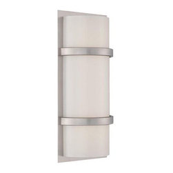 WAC Lighting - Vie dwelLED Wall Sconce by WAC Lighting - Clean, simple and barely adorned, the WAC Lighting Vie dwelLED Wall Sconce offers minimalist style. The plated aluminum frame is ever-so-slightly decorative with two slim cuffs bracing the blown Etched glass shade. Mount vertically or horizontally for myriad indoor applications. WAC Lighting, founded in 1984, has developed a strong reputation for high quality decorative and task lighting. Based in Garden City, New York, WAC Lighting is a leading manufacturer of low voltage, line voltage and LED lighting, including track systems, transformers, lamps, cabinet lighting and recessed downlights.