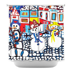 DiaNoche Designs - Shower Curtain - Dora Ficher Snowy Day - DiaNoche Designs works with artists from around the world to bring unique, artistic products to decorate all aspects of your home.  Our designer Shower Curtains will be the talk of every guest to visit your bathroom!  Our Shower Curtains have Sewn reinforced holes for curtain rings, Shower Curtain Rings Not Included.  Dye Sublimation printing adheres the ink to the material for long life and durability. Machine Wash upon arrival for maximum softness. Made in USA.  Shower Curtain Rings Not Included.