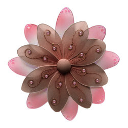 Bugs-n-Blooms - Hanging Flower Medium Brown Pink Two-Tone Nylon Flowers Decor Baby Bedroom - Hanging Two-Tone Flower - Beautiful nylon hanging kids wall or ceiling decor, baby decoration, childrens decorations.  This nylon peachy-pink double layered petal flower with accented color has two-tone painted petals with pretty glitter & sequins. Ideal for Baby Nursery Kids Bedroom Girls Room.  This nylon peachy-pink double layered petal flower with accented color has two-tone painted petals with pretty glitter & sequins  This pretty daisy flower decoration is made with a soft bendable wire frame. Beautiful 3D hanging nursery, bedroom, birthday party, baby shower or wedding decor.  Includes a piece of fishing line and hoop for easy hanging to any wall or ceiling (removable if desired).  Sold individually.  Visit our store for more great items.  Additional sizes are available in various colors, please see store for details.  Please visit our store on 'How To Hang' for tips and suggestions.  Please note: Sizes are approximate and are handmade and variances may occur.  Price is per each flower (1) piece