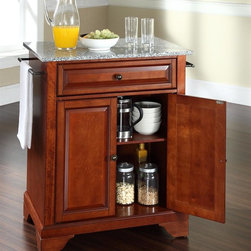 Crosley Furniture - LaFayette Solid Granite Top Portable Kitchen - LaFayette Collection. 1 Adjustable shelf. 1 Drawer. 2 Beautiful raised panel doors. 2 Towel Bars. Solid Granite top. Solid hardwood and veneer construction. Hand rubbed multi-step finish and White finish. Antique Brass hardware. Assembly required. 1-Year manufacturer's warranty. 28.25 in. L x 18 in. W x 36 in. H (135.3 lbs.)