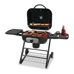 Blue Rhino - Deluxe Outdoor Charcoal Grill - Blue Rhino Deluxe Outdoor Charcoal Grill with 480 square inch cooking surface, black porcelain-coated steel hinged lid, patented adjustable grid - easily adjust the cooking temperature, porcelain-coated steel cooking grate, bottom storage shelf, folding side shelves with tool holders, ash receiver for easy maintenance, wheels for easy portability.