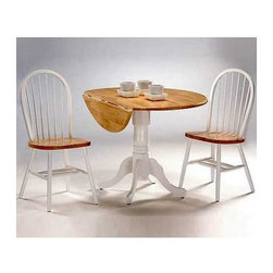 International Concepts - 3 Pc Round Dual Drop Leaf Dinette Table & Chair Set - Create a cozy space for dining and conversation in your kitchen or sun room with this beautiful round table set with two chairs. The round, drop leaf table extends when needed, sitting gracefully on a white pedestal. Arrowback chairs can be used with other tables too. Be it tea time, breakfast or an intimate meal, this dual drop leaf table and chairs set rises to the occasion. Includes 1 round dual drop leaf dinette table with butcher block tabletop & 2 Windsor spindle back chairs. Solid wood dual drop leaf. 9 in. Drop leaf each side, center width 24 in. . Chairs made from Solid Parawood & veneers. Has a natural stain & a protective finish. Assembly required for table. Table: 42 in. Dia. x 29.5 in. H (54 lbs.). Chair: 17.25 in. W x 19 in. D x 37.5 in. H (16 lbs.), Seat height: 18.13 in.