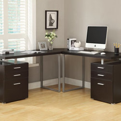 Monarch - 3Pc Hollow-Core L-Shaped Desk Set in Cappuccino - Creating a striking look to your home office. This simple yet practical cappuccino finish hollow-core 3pc desk set is the perfect addition to your home office. With the addition of the wedge corner unit between the desk, it helps to create space for a more generous work station. The mobile side drawers provide you with space to store office supplies, papers, books, files folders, and plenty more. Use the spacious table top for your computer, a lamp and even some pictures.