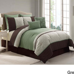 None - Seville 8-piece Comforter Set - This comforter set features a green base with a classy striped printed detail. The soft polyester is machine washable and the set includes matching shams, Euro shams, two decorative pillows and bedskirt.
