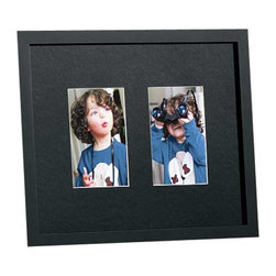 """Exposures - Black Mat Rive Gauche  Double Classic Frame - Overview Part of our best selling Rive Gauche Collection of frames, this style features a black acid-free mat; the professionals choice for making photos or artwork pop. Create your own collage; designed to hold multiple images and photos, our classic Rive Gauche frames are our best selling wooden wall frame collection. They hang horizontally or vertically on attached saw tooth hangers with black 1"""" molding. Features Solid wood moldings Black acid-free mat with white inner core Vertical or Horizontal Wall display only  Specifications Double 4 x 6 is 12"""" x 15"""" overall  Double 5 x 7 is 17"""" x 21"""" overall"""