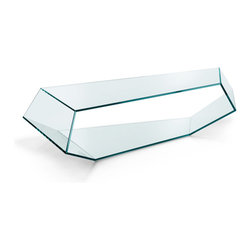 """Tonelli Design - Dekon 2 Coffee Table - This geometric sculptural coffee table was designed by Karim Rashid in 2006. The angles of the tables produce an effect of continuity to the glass surfaces.  The tables is reversible and can be used with our without feet. The low table is constructed entirely of 1/2"""" clear glass."""